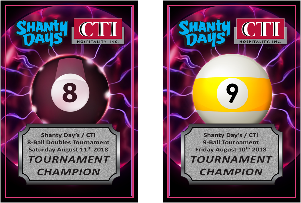 Shanty Days Pool Tournament Plaques