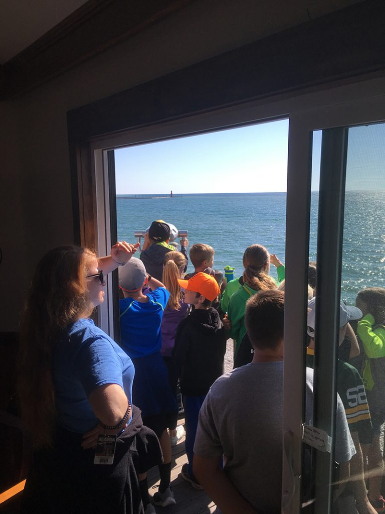 Algoma Elementary Students enjoy the view of Lake Michigan from the Chamber Building