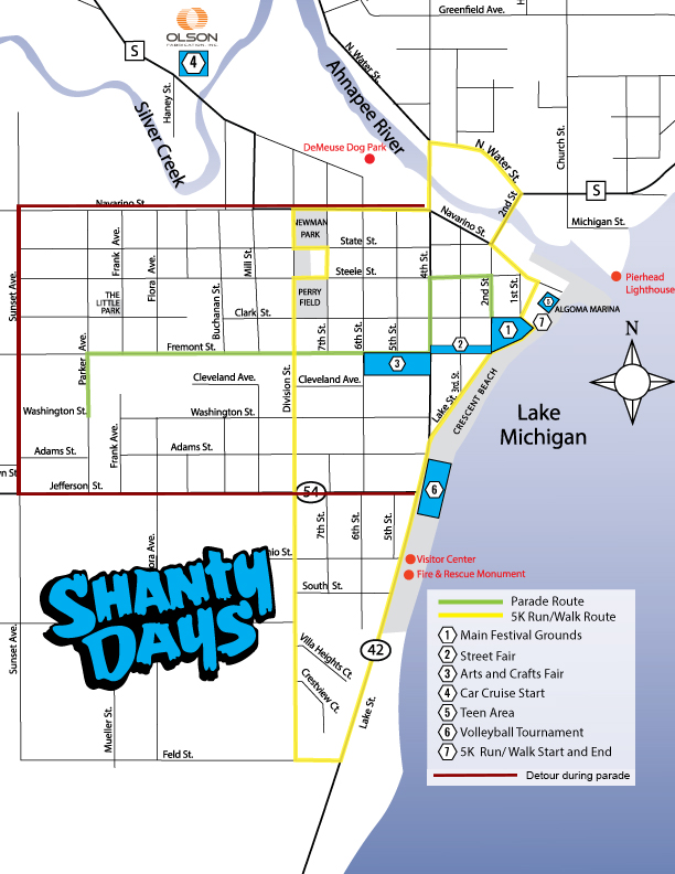 Shanty Days 2018 Road Closure Map