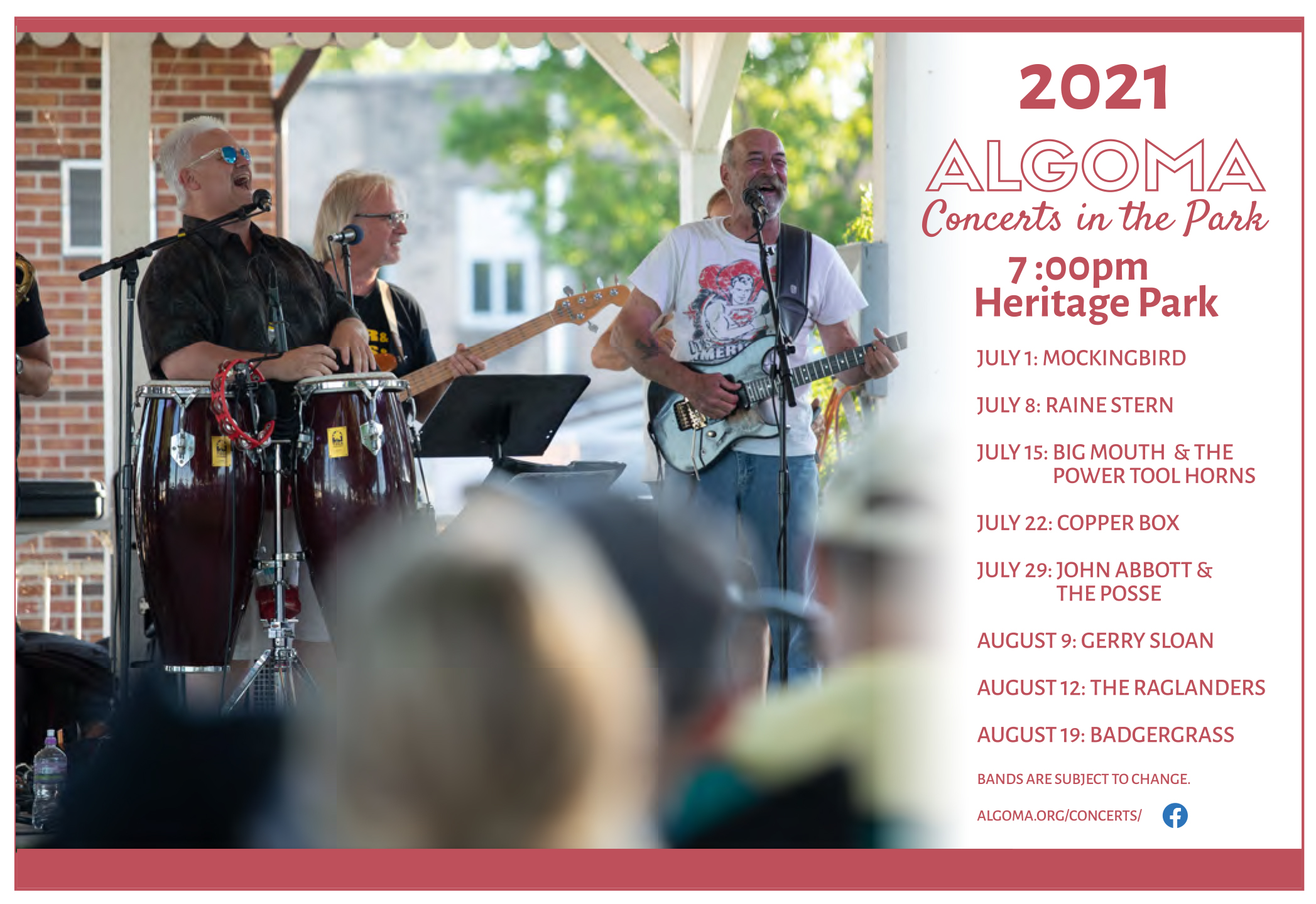 2021 Concerts in the Park Algoma Wisconsin