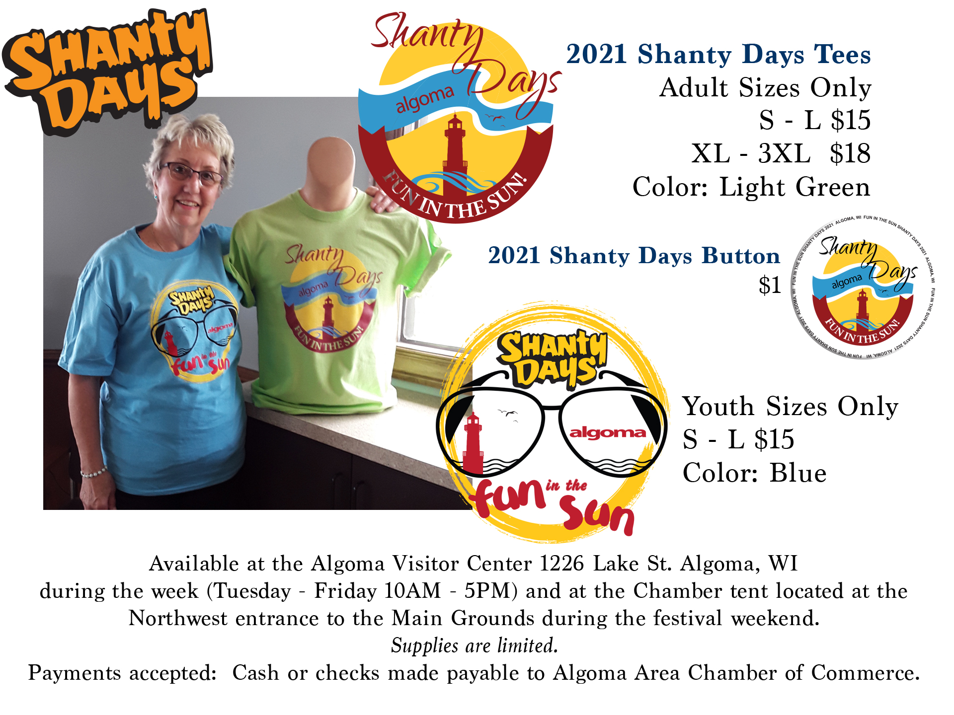 2021 Shanty Days buttons and event shirts